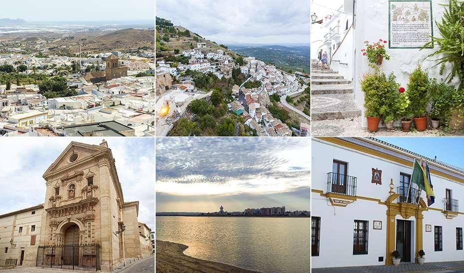 De izquierda a derecha y de arriba a abajo, Níjar, La Iruela, Frigiliana, Antequera, Isla Cristina y Aznalcázar.